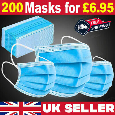 £5.95 • Buy 200 X Disposable Face Mask 3 PLY