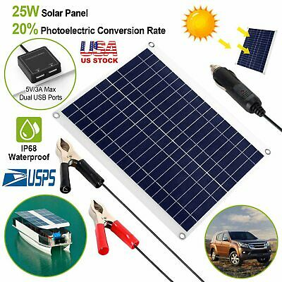 £28.29 • Buy 25W 12V Portable Outdoor Dual USB Solar Panel Charger Power Supply For Car Boat