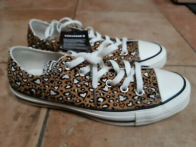Converse All Star Low Trainers Leopard Heart  Uk 5,6,7   Last 3  Rrp £55  Last 3 • 51.99£