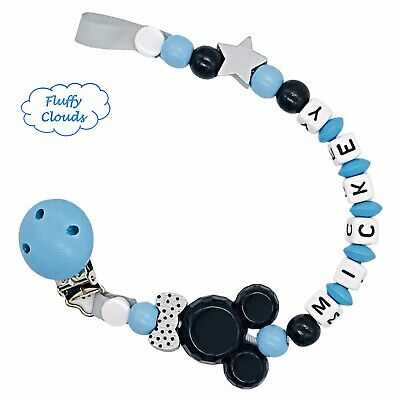 £7.90 • Buy Dummy Clip Personalized Wooden Bead Pacifier Holder Soother Chain ~ Baby Boys