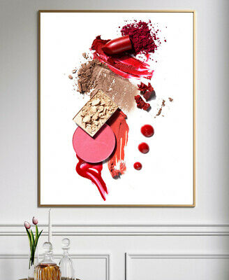 MAKEUP LIPSTICK PRINT Bedroom Red Pink Home Decor Wall Art Typography Posters • 3.99£