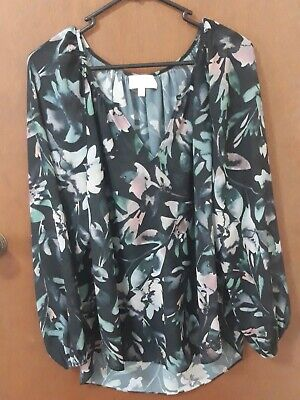 AU16 • Buy WITCHERY Long Sleeve Blouse Top - Size 12 (also Fit 14) - Black Floral Print