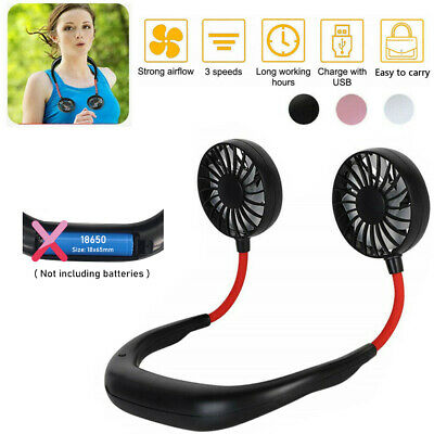 AU20.87 • Buy Portable USB Rechargeable Neckband Dual Cooling Mini Fan Lazy Neck Hanging Style