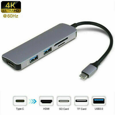 AU30.23 • Buy Type C To USB3.0 HDMI 4K SD/TF Reader 5in1 Hub Cable Adapter For Macbook Air Pro