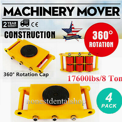 $304 • Buy 4Pcs/Set Machine Dolly Skate Machinery Roller Mover Cargo Trolley 17600lbs/8 Ton