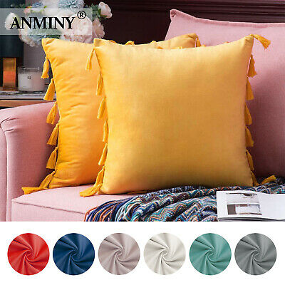 Velvet Tasseled Cushion Cover Soft Throw Pillow Cover Pillowcase For Living Room • 3.39£