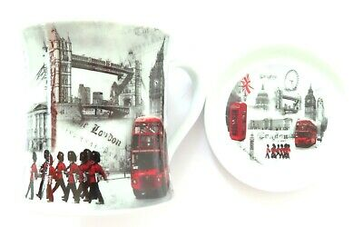 London Scenes Fine China Mug & Round Ceramic Coaster Set - Comes Boxed • 9.99£