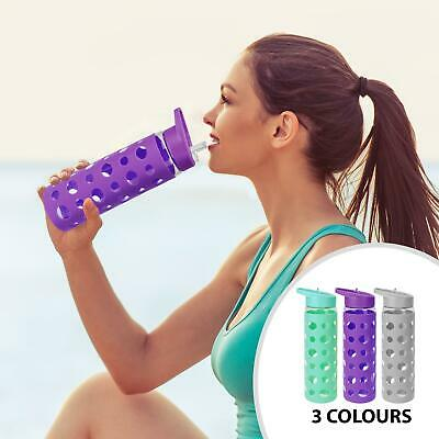 Glass Gym Sports Water Drink Bottle Cycling Hiking Portable Spray Bottle 550ml • 9.96£
