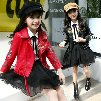 Girls Kids Baby Coat Embroidery Pu Leather Zipper Motorcycle Cool Biker Jacket  • 20.88£