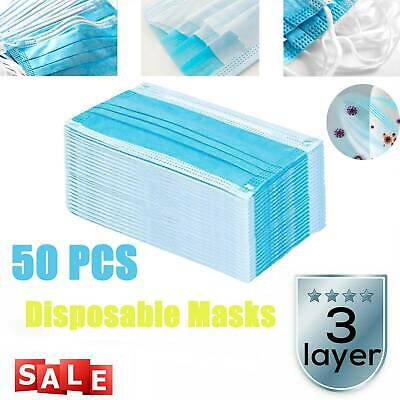 50/100 × Disposable 3 Ply Surgical Medical Mask Anti Dust Flu Earloop Face Masks • 7.99£