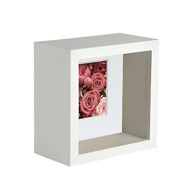 4 X 4 3D Box Frame Photo Picture Deep Display Shadow With 2 X 2 Mount White • 9.99£