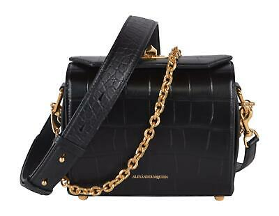 AU853.53 • Buy New Alexander McQueen Black Croc Embossed Leather Box Bag 19 Crossbody Purse