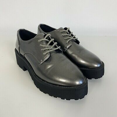£14.99 • Buy River Island Pewter Silver Thick Sole Flatform Lace Up Brogue Shoes Size 3/36