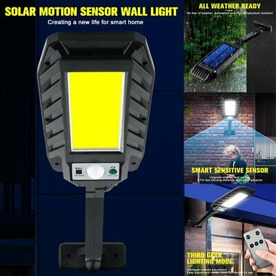180COB LED Solar Powered Wall Street Flood Light PIR Motion Outdoor Garden Lamp • 21.49£