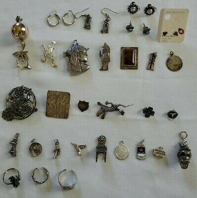 $ CDN59.45 • Buy Lot 30 Vintage Sterling Silver Jewelry Earrings Pendant Ring Brooch Pin Charm