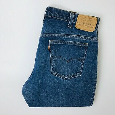 Vintage Levi's 519 Jeans Orange Tab 36W 30L Dark Blue Straight Leg • 26.97£