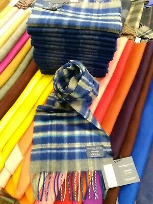 £29.99 • Buy 100% Pure Cashmere Scarf By Johnstons Of Elgin   Blue Check   Made In Scotland