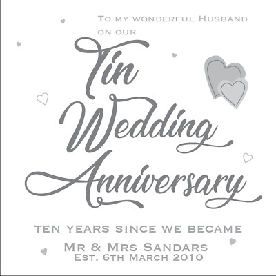 Personalised 10th Tin Wedding Anniversary Card Husband Wife Couple Son Daughter • 3.95£