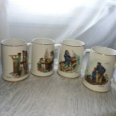 $ CDN26.35 • Buy NWOB Vtg. Norman Rockwell Museum Coffee Mugs Steins Tankards Cups S/4