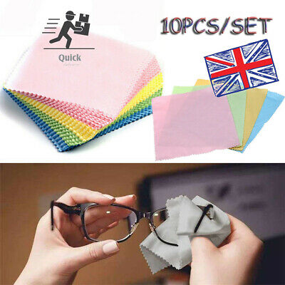 10x Micro Fibre Microfiber Cleaner Camera Lens Sunglasses Glasses Cleaning Cloth • 2.97£