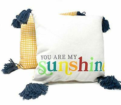You Are My Sunshine  All Weather Throw Pillows With Navy Tassels -Set Of 2 • 11.85£