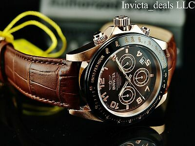 $79.99 • Buy Invicta Men's 43mm SPEEDWAY Chronograph BROWN Dial Rose Tone 200m SS Watch-RARE