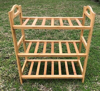 AU20 • Buy LeveL AAA Bamboo Shoe Rack Storage Wooden Organizer Shelf Stand 3 Tiers Layers