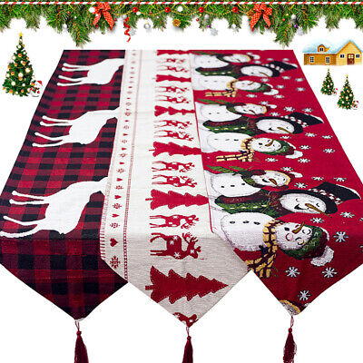 Christmas Table Runner Cover Cloth Tablecloth Decorations Cotton Linen Dining • 9.99£
