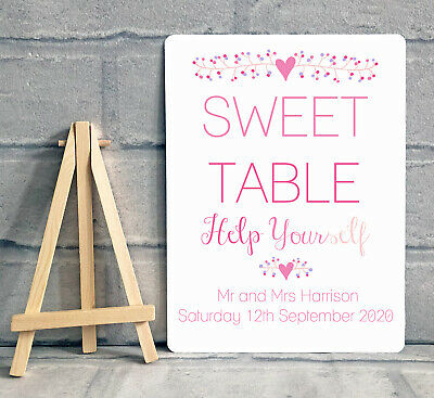Sweet Table Candy Stall Cart Sign - A5 PERSONALISED - Wedding / Birthday Party  • 8.95£