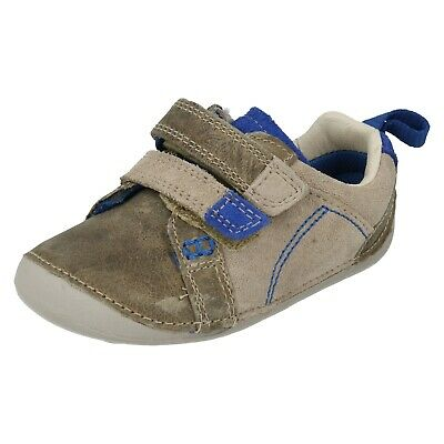 Boys Clarks Tiny Soft Infant Hook & Loop Cruiser First Walking Casual Shoes Size • 19.99£