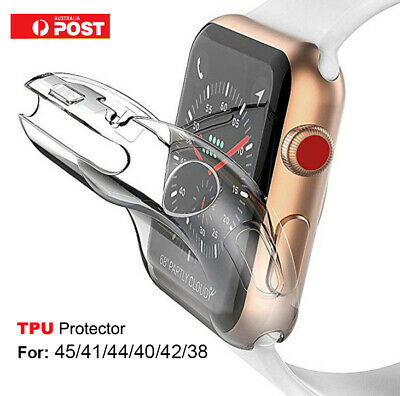 AU6.35 • Buy For Apple Watch Series 5 4 3 2 TPU Clear Screen Protector Case Cover 44 40 42 38