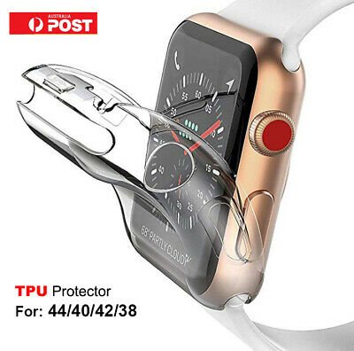 AU5.95 • Buy For Apple Watch 6 5 4 3 2 TPU Clear Screen Protector Case Cover 44 40 42 38