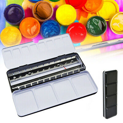 Durable Drawing Palette Iron Empty Tin Full Pan Solid Watercolor Gift Paint Box • 7.23£