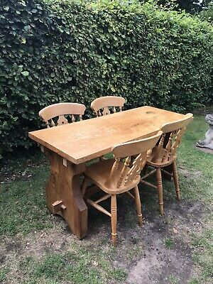 Solid Farmhouse Yew Dining Table And 4 Fiddleback Chairs • 225£