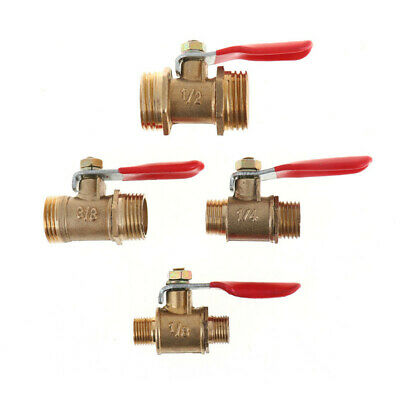Brass Ball Valve 1/8  1/4  3/8  1/2  Male To Male BSP Thread With Han TDUKPTWY • 2.30£
