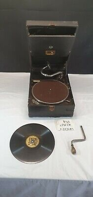 Vintage Portable 1930s HMV Gramophone Wind Up Record Player - His Masters Voice • 180£
