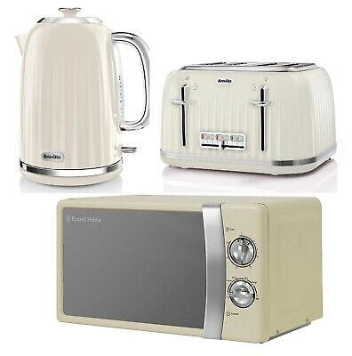 Russell Hobbs Microwave With Breville Electric Kettle And Toaster Set - Cream • 169.99£