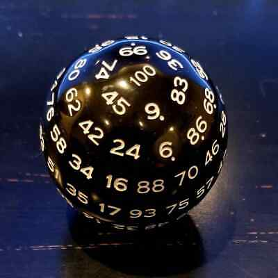 AU16.79 • Buy D100 Black And White 100 Sided Die, D100 Game Dice, 100 Sides DnD RPG Dice