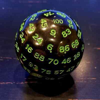 AU16.79 • Buy D100 Black And Green 100 Sided Die, D100 Game Dice, 100 Sides DnD RPG Dice