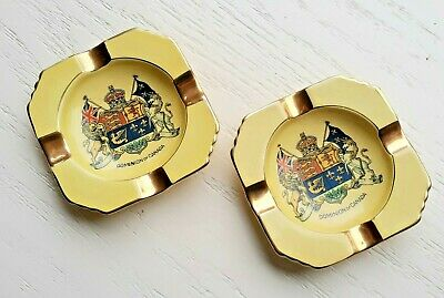 $ CDN19.02 • Buy Set 2 Royal Winton Grimwades Ashtray Canada Canadian Seal Gilt Luster Gold VTG
