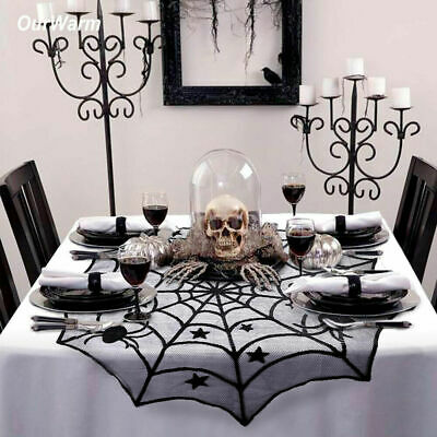 Halloween Lace Creepy Table Cloth Cover Window Door Net Party Dress Decoration • 3.99£