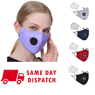 Washable Reusable Cotton Fabric Face Mask With Respirator & 2 X PM 2.5 Filters • 5.99£