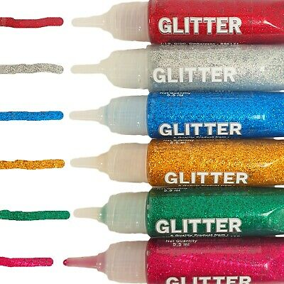 Glitter Glue Pen Tubes Sparkly Colours Kids Children Art Craft Set Gold Silver • 2.99£