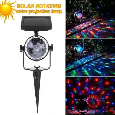 Solar LED Rotating Spotlight Color Changing Projection Stake Light Outdoor Party • 10.78£