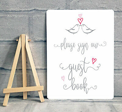 £6.95 • Buy A5 Guest Book Wishing Tree Hearts Drop Box Metal Table Sign Wedding Party - Bird