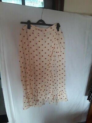 F And F Polka Dot Spotted Cream Ruffle Wrap Skirt Size 18 Bnwt • 8.99£