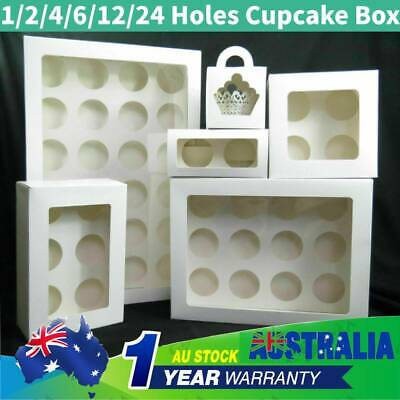 AU9.99 • Buy Cupcake Boxe Cases 1/2/4/6/12/24 Hole Window Face With Inserts Cake Boxes Boards