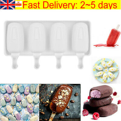 £4.99 • Buy Frozen Ice Cream Pop Mold 4Cell Kitchen Popsicle Maker Lolly Cake Mould Tray Pan