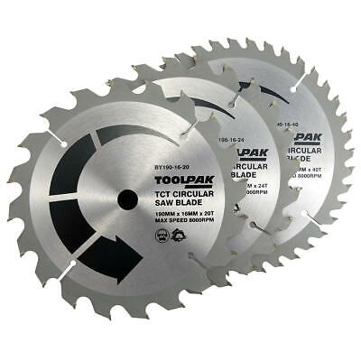 £19.95 • Buy Toolpak 190mm X 16mm Bore X 20/24/40 Tooth 3 Pack Circular Saw Blades, BY190-16