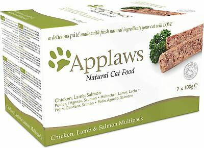 Applaws Cat Pate Multi Pack Chicken Lamb & Salmon 7x100g Wet Tray Feeding BN • 6.39£